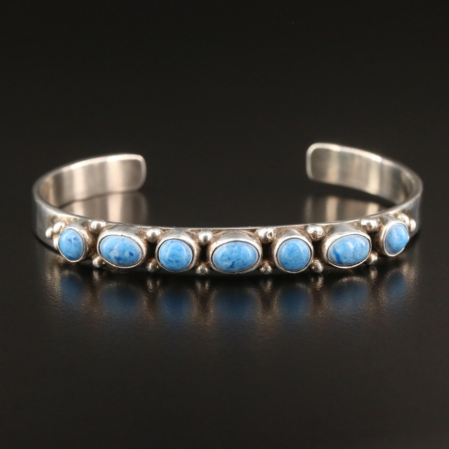 Leonard Platero Navajo Diné Sterling Silver Faux Turquoise Cuff