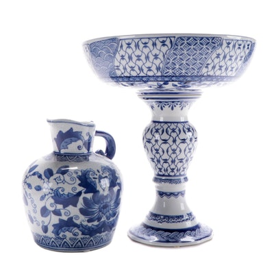Chinoiserie Blue and White Porcelain Compote and Floral Motif Pitcher