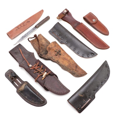 Hunting Knife and Various Leather Sheaths, Early to Mid 20th Century