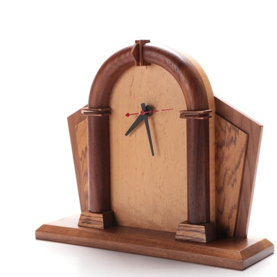 Modern Style Handmade Mixed Wood Mantel Clock, Mid to Late 20th Century