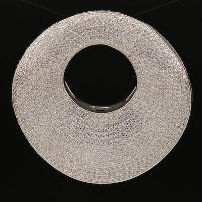 Sterling Pavé Cubic Zirconia Circular Pendant