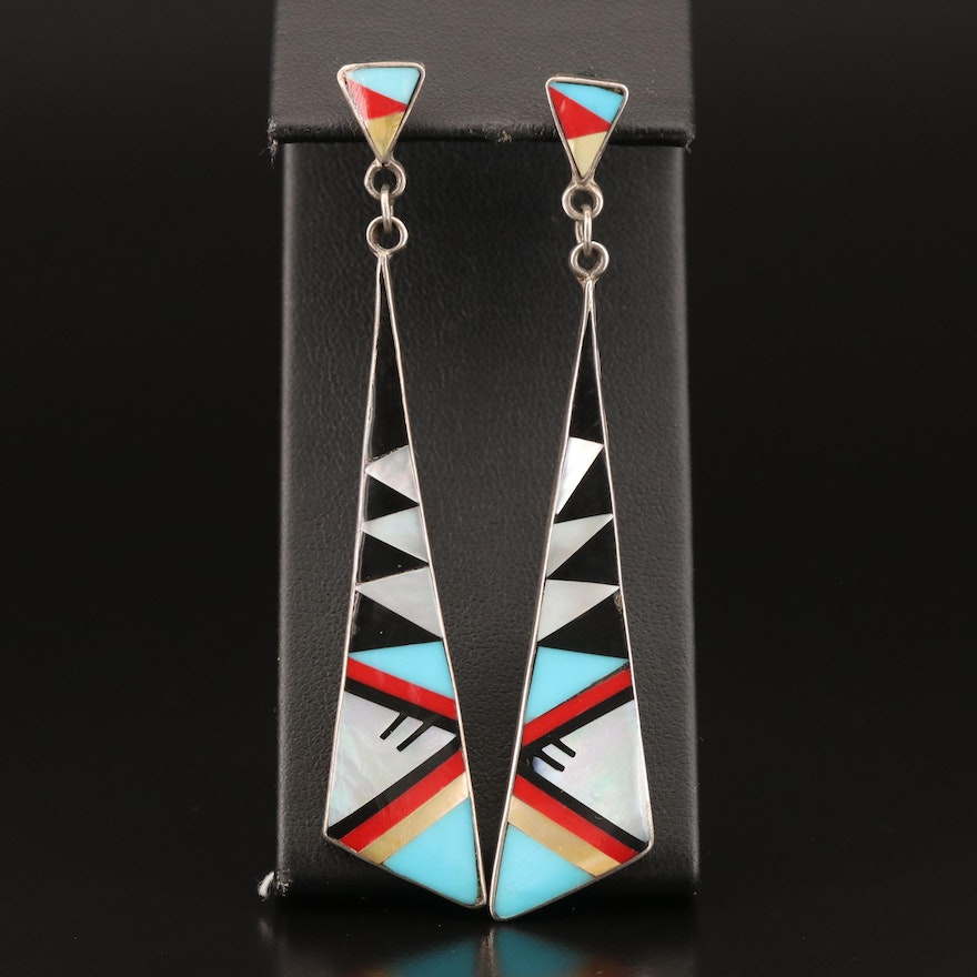 Sterling Black Onyx, Mother of Pearl and Faux Turquoise Inlay Earrings