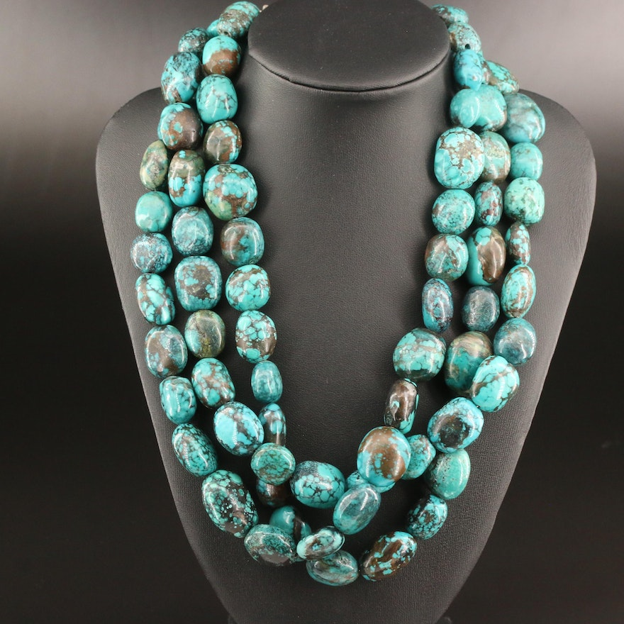 Sterling Silver Turquoise Torsade Necklace