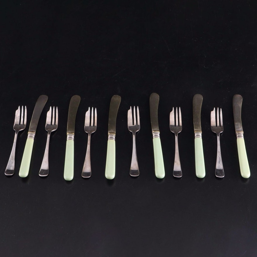 English Silver and Green Celluloid Handled Dessert Set in Presentation Boxes