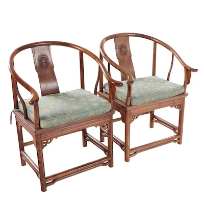 Pair of Chinese Hardwood Horseshoe-Back Armchairs