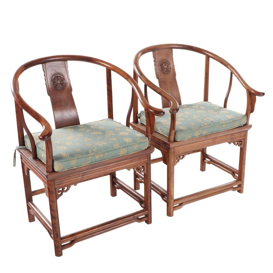 Pair of Chinese Hardwood Horseshoe-Back Armchairs
