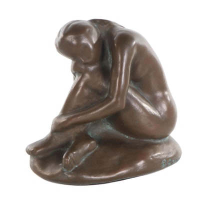 Bronze Tone Sculpture of Seated Woman, 2003