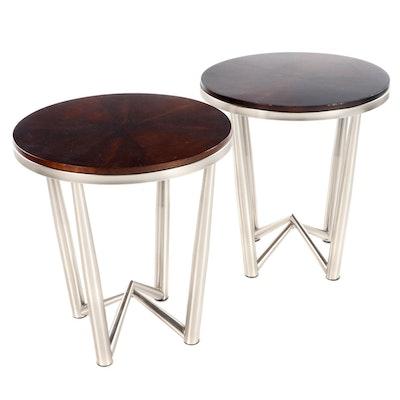 Pair of Steve Silver Walnut Veneer and Aluminum Base End Tables