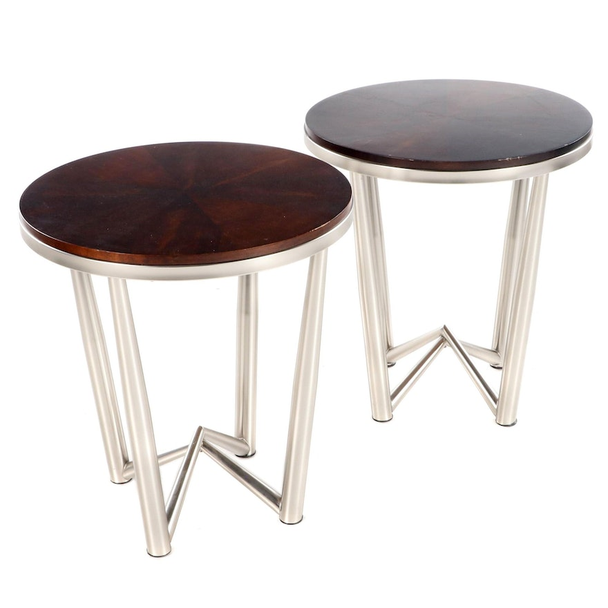 Pair of Steve Silver Walnut Veneer and Aluminum Base End Tables