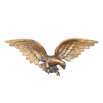 Brass-Patinated and Cast Metal Spread-Winged Eagle Wall Plaque