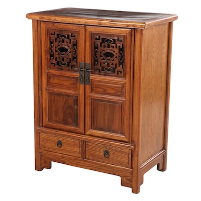 Chinese Carved Hardwood Two-Drawer Cabinet