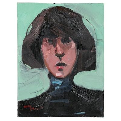 "Jose Truijillo Oil Painting ""Chic Bob,"" 2020"