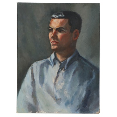 "Oil Portrait of Man ""Marge's Nephew,"" Late 20th Century"