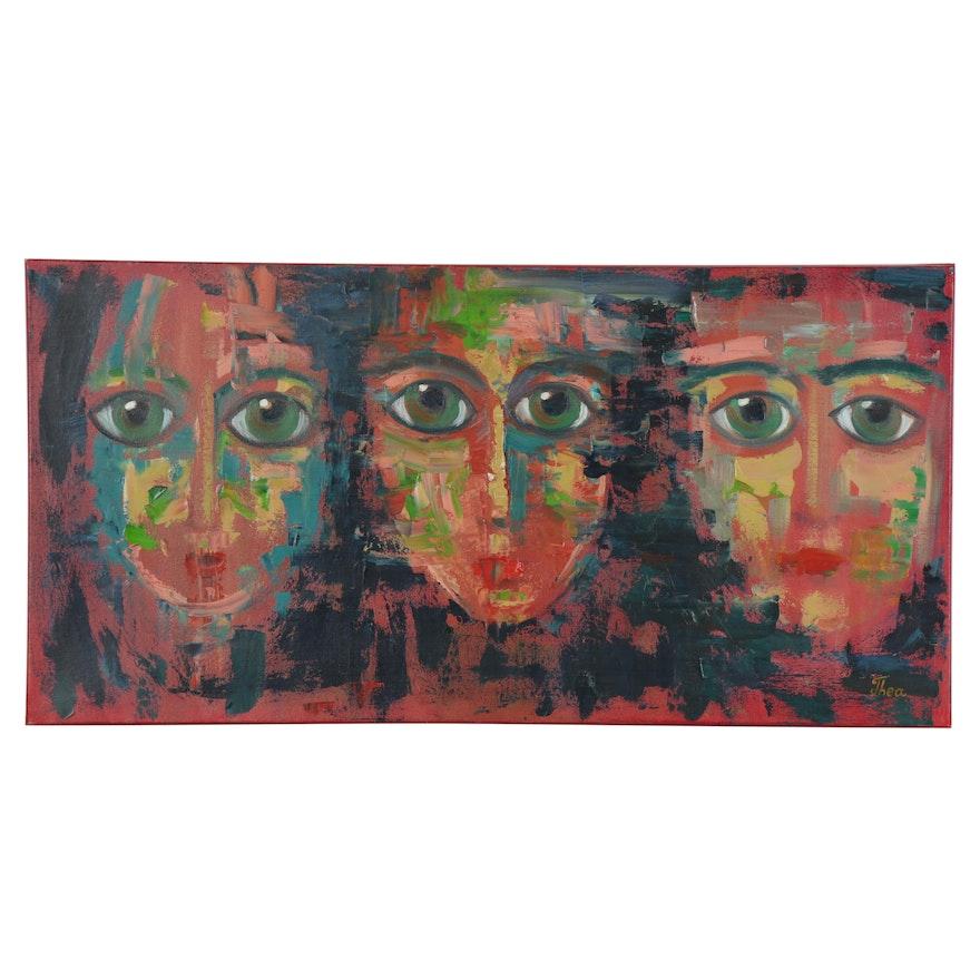 "Thea Mamukelashvili Oil Painting ""Abstract Faces,"" 2020"