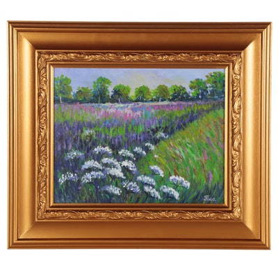 "Thea Mamukelashvili Oil Painting ""Wildflowers,"" 2021"