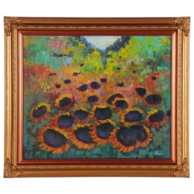 "Thea Mamukelashvili Oil Painting ""Sunflowers"""