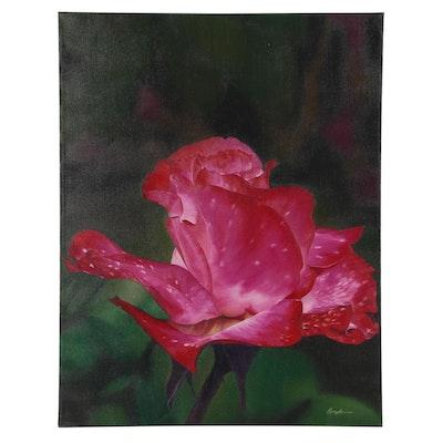"""Deborah Bigeleisen Oil Painting """"Rosebud,"""" 21st Century"""