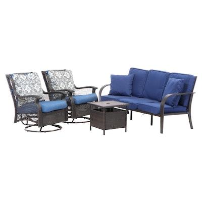 Cast Aluminum Sofa and Swivel Armchair Patio Set with Umbrella Table