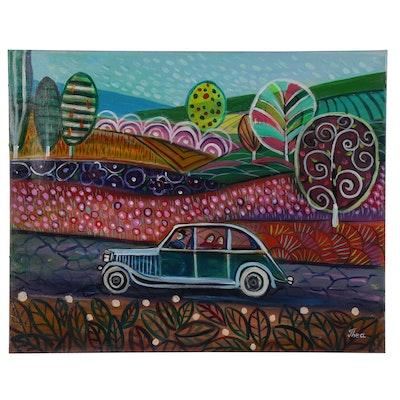 """Thea Mamukelashvili Acrylic Painting """"Funny Vacation"""""""