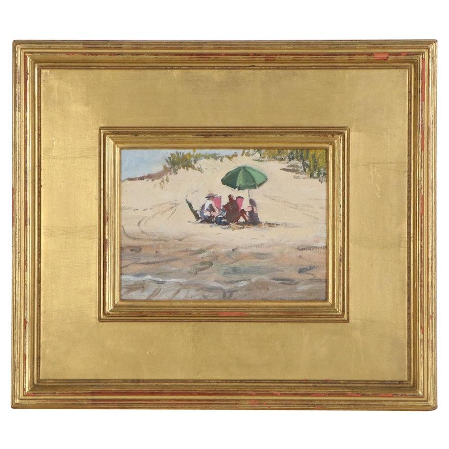 "Oil Painting of Beach Scene ""Plum Island,"" 2001"