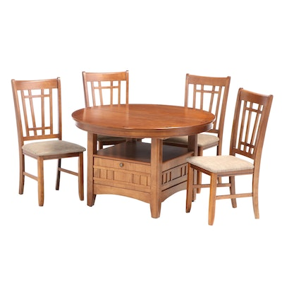 Arts & Crafts Mission Style Expandable Dining Table with Four Side Chairs