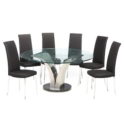 Modernist Water Drop Effect Glass and Metal Table with Six Dining Chairs
