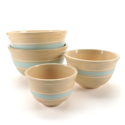 Watt Pottery Striped Stoneware Mixing Bowls