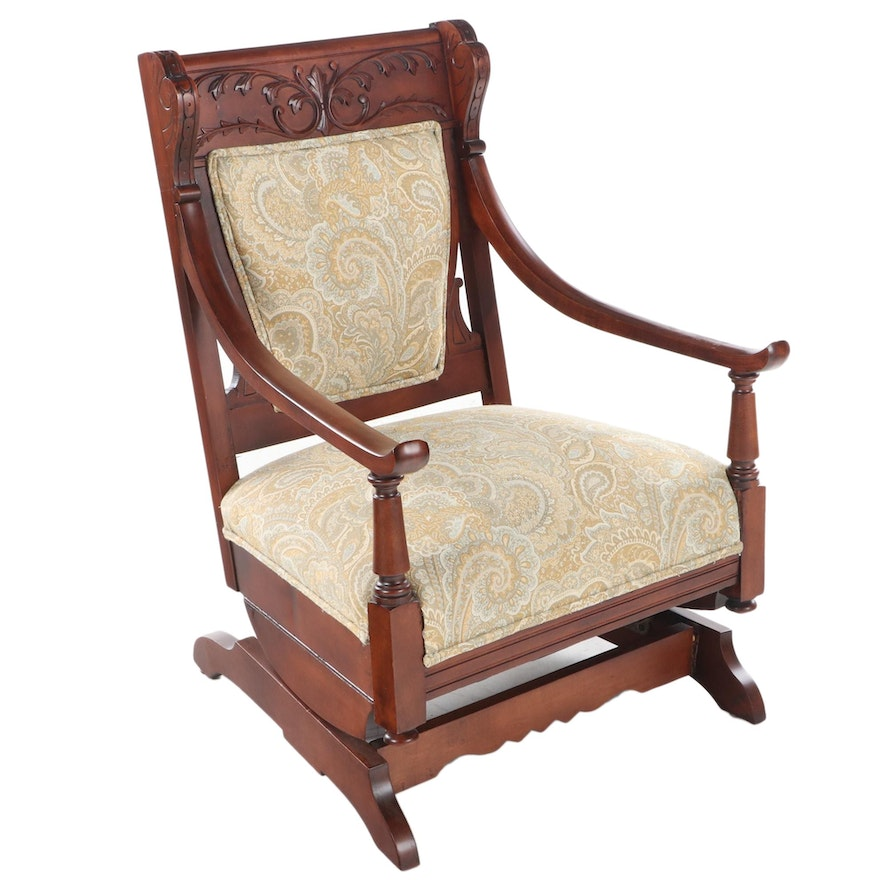 Late Victorian Cherrywood Platform Rocker, Late 19th/Early 20th Century