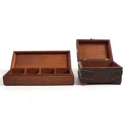 Walnut Box with Leather Overlay and Divided Box with Inlay, Early to Mid 20th C.