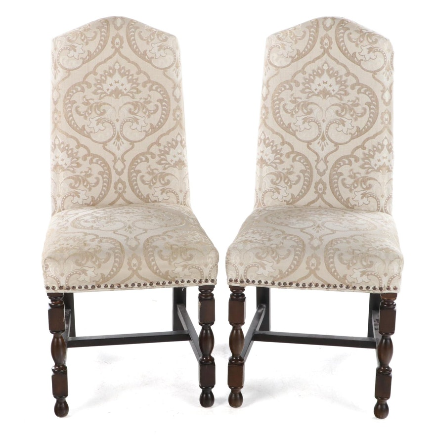 Pair of Upholstered Side Chairs with Nailhead Trim