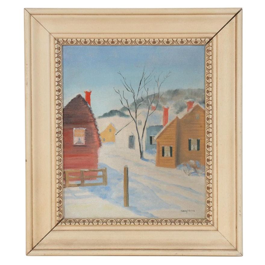 Frances Hooghkirk Winter Village Oil Painting, Mid-Late 20th Century