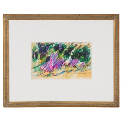 Paul Chidlaw Abstract Expressionist Ink and Watercolor Painting