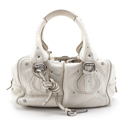 Chloé Mini Paddington Satchel Bag in White Grained Leather
