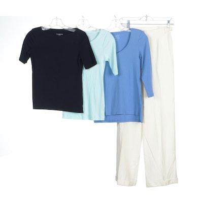 Lauren Ralph Lauren Twill Pants, Caslon and Talbots Blue Cotton Shirts