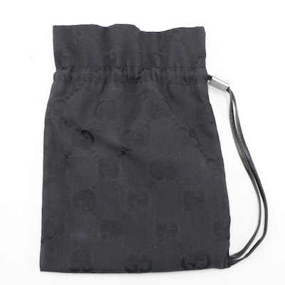 Gucci Small Drawstring Pouch in Black GG Canvas with Leather Trim