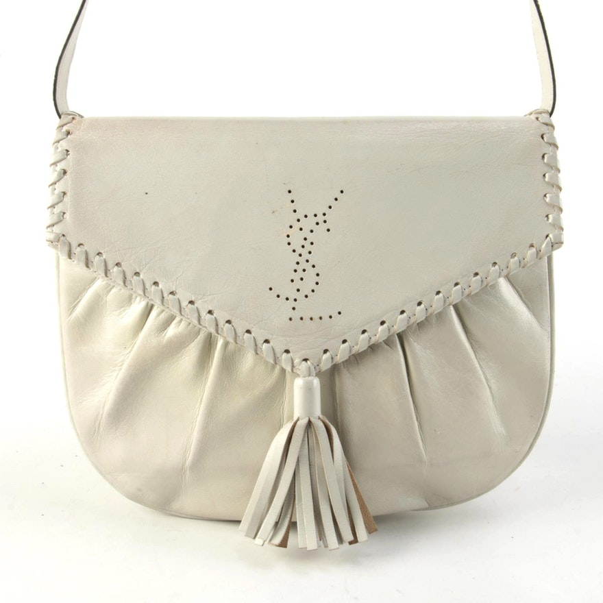 Yves Saint Laurent Perforated Logo and Whipstitch Leather Tassel Flap Bag