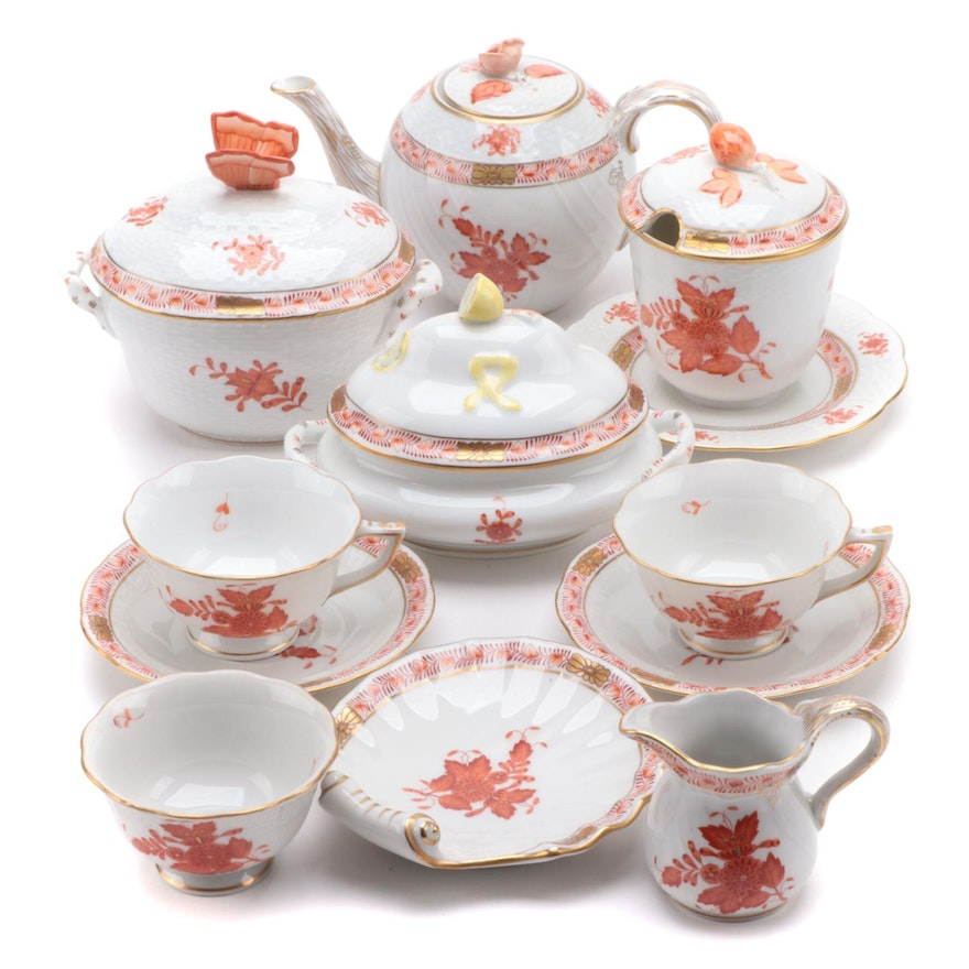 """Herend """"Chinese Bouquet Rust"""" Porcelain Dinnerware and Serveware"""