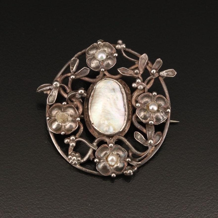 Victorian Sterling Pearl Brooch
