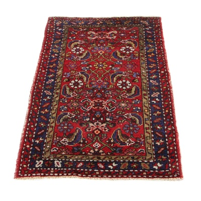 2'5 x 3'11 Hand-Knotted Persian Zanjan Accent Rug, 1940s
