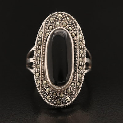 Sterling Oval Onyx Cabochon and Marcasite Ring