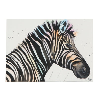 """Anne """"Angor"""" Gorywine Watercolor Painting of Zebra, 2020"""