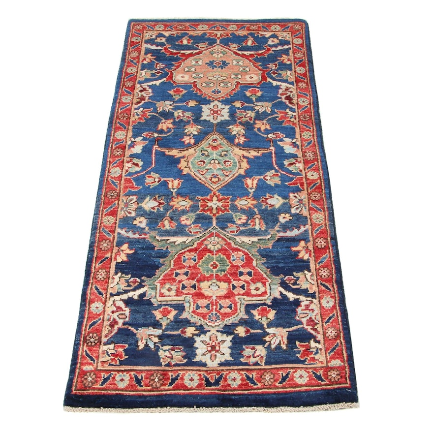 2' x 5' Hand-Knotted Afghan Persian Tabriz Accent Rug, 2010s