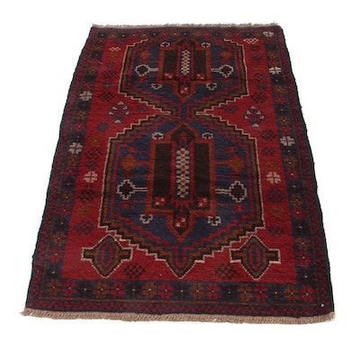 2'10 x 4'8 Hand-Knotted Afghan Baluch Accent Rug, 2000s