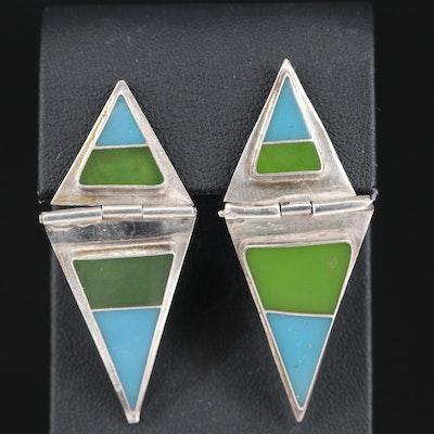 Mexican Sterling Enamel Triangular Earrings