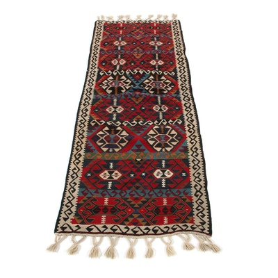2'5 x 7'2 Handwoven Turkish Caucasian Kilim Carpet Runner, 1970s