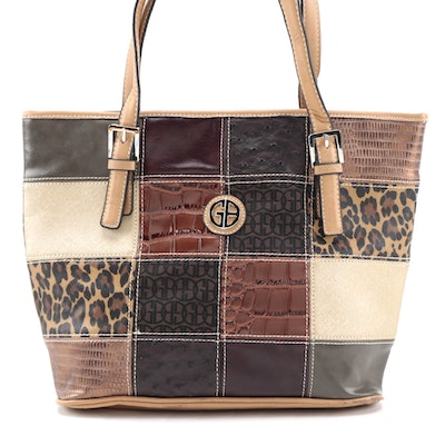Giani Bernini Vegan Leather and Embossed Patchwork Zip Tote