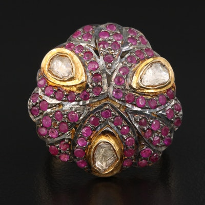 Sterling Silver Diamond and Corundum Ring