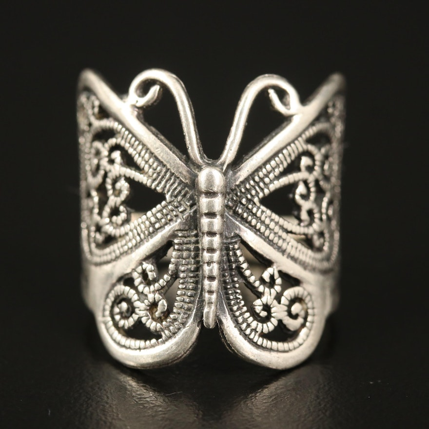 Sterling Openwork Butterfly Ring