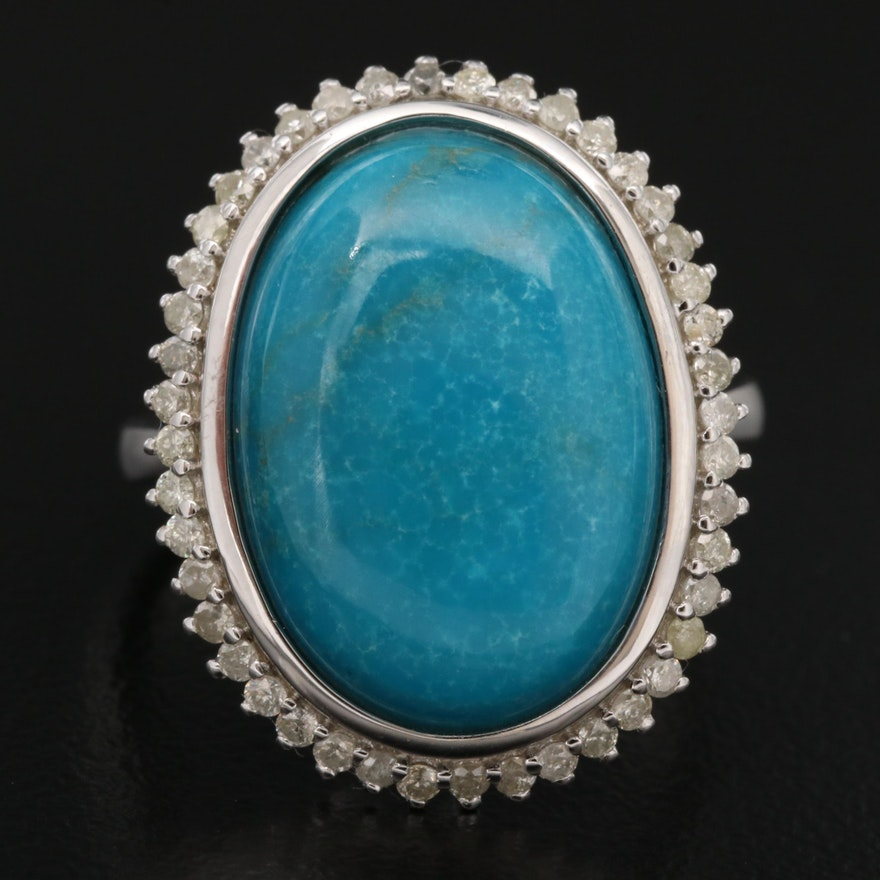 Sterling Silver Chrysocolla and Diamond Ring