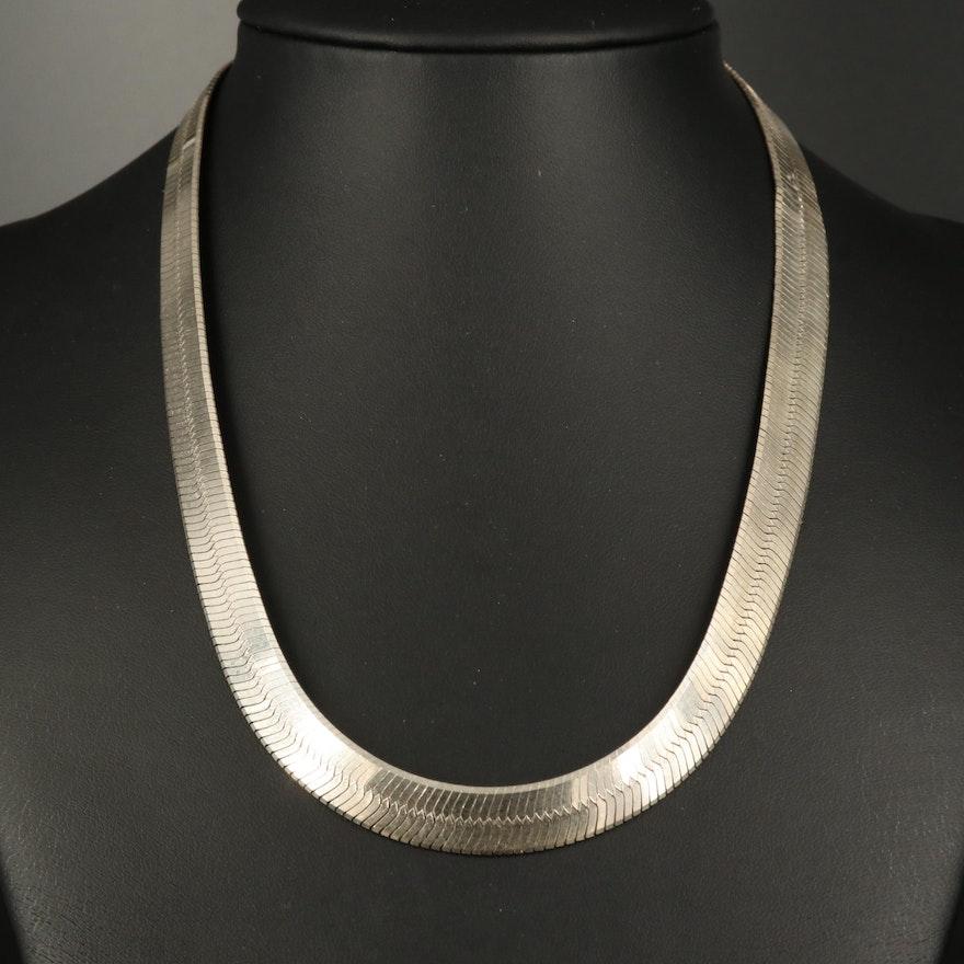 Sterling Herringbone Chain Necklace